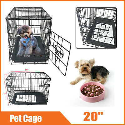"""Durable 20"""" One Door Metal Pet Travel Kennel Cat Dog Steel Crate Cage with Tray"""