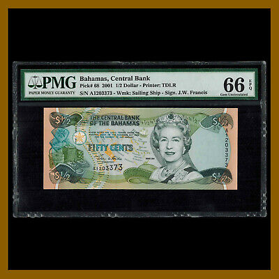 Bahamas 1/2 Dollar (Fifty Cents), 2001 P-68 PMG 66 EPQ Queen Elizabeth II Unc