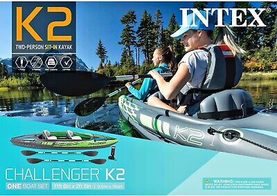 New Challenger K2 Inflatable Kayak with Oars and Hand Pump