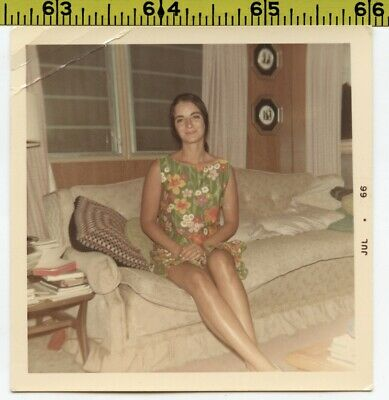 Vintage 1966 photo / Lovely Young Brunette Woman with Nice Tan & Sexy Long Legs