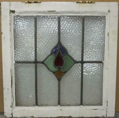 "OLD ENGLISH LEADED STAINED GLASS WINDOW Gorgeous Abstract Design 19.75"" x 20"""