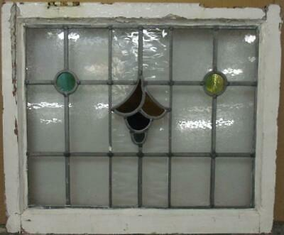 "MIDSIZE OLD ENGLISH LEAD STAINED GLASS WINDOW Nice Abstract Design 23.75"" x 20"""