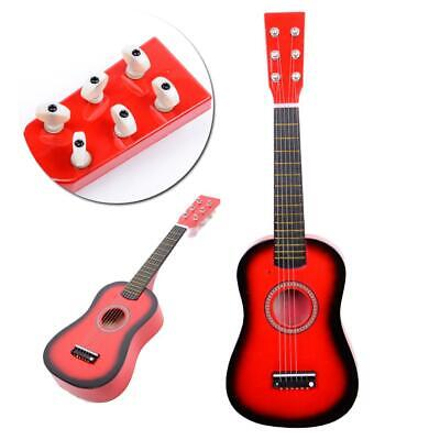 """23"""" Inch Kids Wooden Acoustic Guitar Musical Instrument Child Red& Pick Strings"""