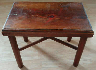 Vintage Wood Country Farm House Small Foot Stool Milking Bench