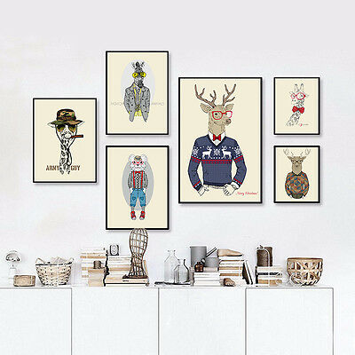 Deer Dog Canvas Poster Animal Star Funny Poster Canvas Wall Art Painting