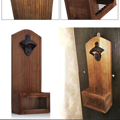 Wall Mounted Wooden Bottle Opener with Cap Catcher Gift for Men and Beer Lovers