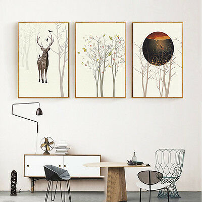 Nordic Deer Forest Landscape Poster Abstract Canvas Wall Art Home Decoration