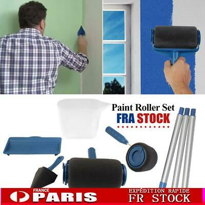 Paint Roller Brush Set Wall Painting Decor Handle Tool Flocked Edger Tray Pad