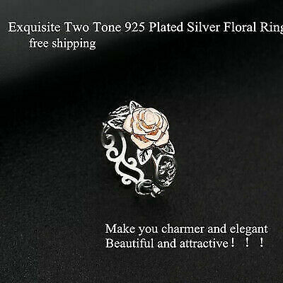 Exquisite Two Tone 925 Silver Floral Ring 14k Rose Gold Flower Wedding Jewelry H