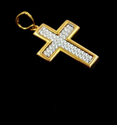 22k 22ct Solid Gold Cross Christian JESUS christ Pendant Charm Diamond Cut P890