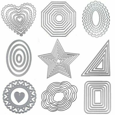 Different Form Cutting Dies Heart Lace Circle Rectangle DIY Birthday Dies Set