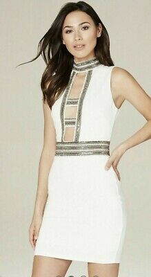 New with Tags NWT Women's Size 2 Small bebe Caged Embellished White Beaded Dress