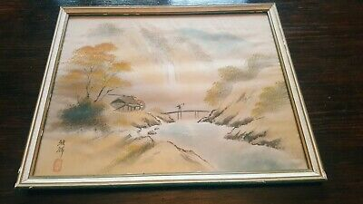 Antique Chinese/oriental Silk Painting (Village Scene) with Stamp/mark