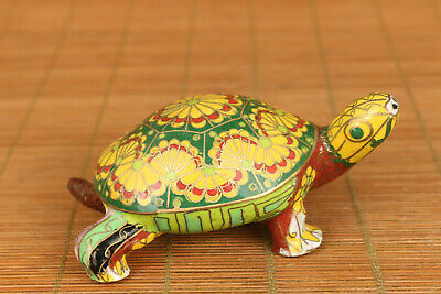 chinese old cloisonne hand carved turtle statue figure collectable