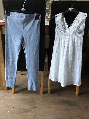 BNWT 9-10 Years White Embroidered Top Light Blue Leggings Summer Holidays