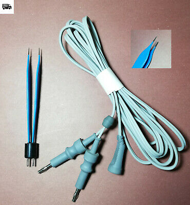 Adson Bipolar Forceps Blue Tip 1mm Lenght 12cm US Type-Reusable-With Cable/Cord
