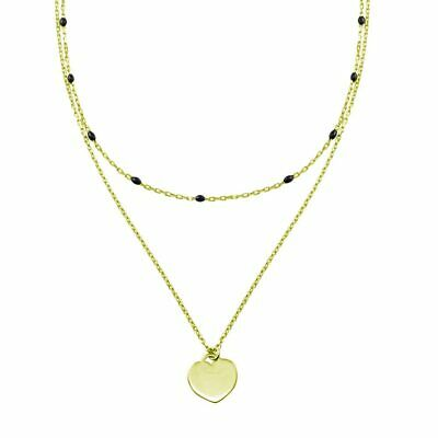 Women 925 Sterling Silver Gold Plated Multi Chain Beaded Heart Necklace