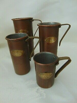 SET OF 4 VINTAGE FRENCH COPPER MEASURING CUPS TANKARDS with BRASS HANDLES