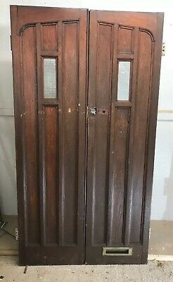 Solid Oak Front Door Set Antique Period Reclaimed Old Double Arts Crafts Arched