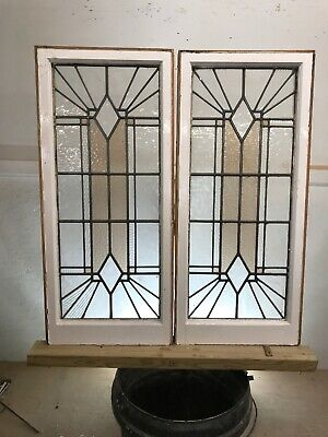 PAIR STAINED GLASS WINDOW PANELS ARCHITECTURAL ANTIQUE PERIOD ART DECO 20s 30s