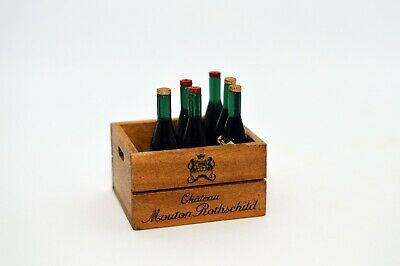 Dolls House Miniature Crate with 6 Bottles of Wine Alcohol Kitchen Furniture