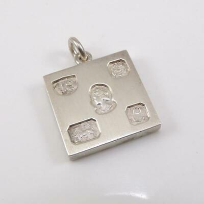 Vintage Sterling Silver English Bullion Bar Square Pendant LFF3