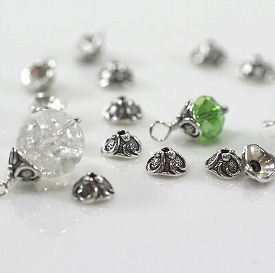TierraCast Lily Bead Caps, 8 mm, Fine Silver Plated Pewter, 10 Pieces, 0412