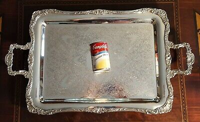 """Wm Rogers Silver Tray Footed with Handles 27"""" Engraving Shells Antique Exc Cond"""