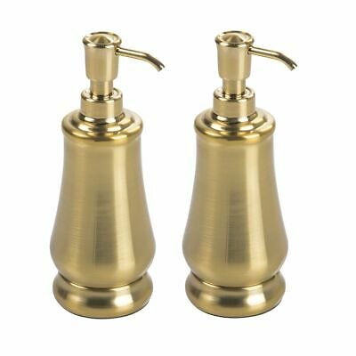 mDesign Modern Metal Refillable Liquid Soap Dispenser Pump, 2 Pack - Soft Brass