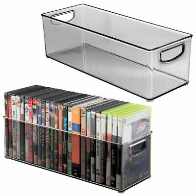 mDesign Stackable Storage Bin for DVDs, Video Games, Accessories, 2 Pack - Gray