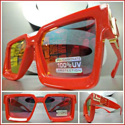OVERSIZED VINTAGE Luxury RETRO Style SUNGLASSES Red & Gold Frame Red Mirror Lens
