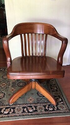 Vintage Wood Office DESK CHAIR Swivel Tilt Banker Lawyer Industrial LOCAL PICKUP