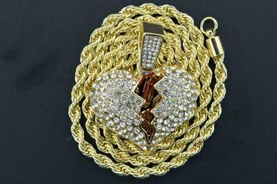 14K Gold Plated Hip Hop Micro Pave CZ Heart Break Pendant with 4mm Rope Chain