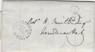 Canada 1853 Entire Letter Toronto to Newmarket ON 3 Pence Handstamp Collect Rate