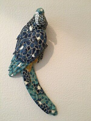 """1 x MOSAIC PARROT WALL PLAQUE (ORNAMENT) - Approx. 12"""" high"""