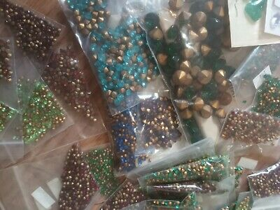 OVER 50 Huge Lot Antique Vintage Rhinestones Cameos Cabachons Old Jewelry Repair