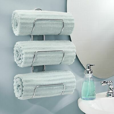 mDesign Metal 3-Tier Wall Mount Towel Rack Holder and Storage Organizer - Chrome