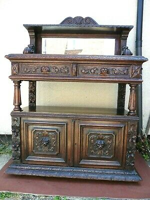 Antique Victorian Profusely Carved Oak Green Man Buffet / Sideboard, Mirror Top.