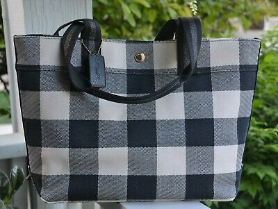 658fb41e4a NWT COACH F66867 Tote wtih Buffalo Plaid Print Handbag Midnight $250 ...