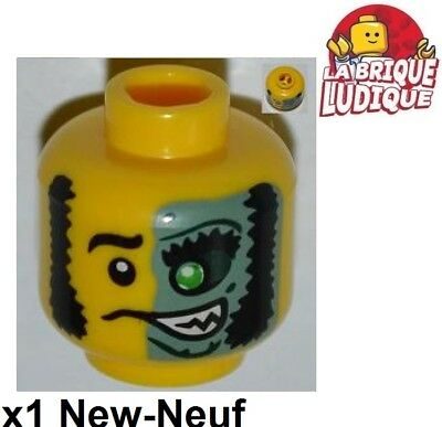 x1 NEW Lego Minifig Head Dual Sided Stubble Missing Tooth Open Grin Frown