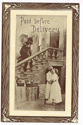 "ANTIQUE ROMANCE Postcard       ""PAID BEFORE DELIVERY"""