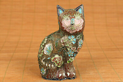 chinese old cloisonne hand carved lovely cat statue figure