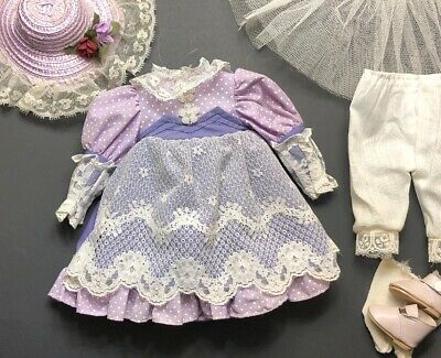 """Vintage Doll Dress Clothes Purple Floral Lace Polka Dot Outfit Hat For 16"""" Dolls"""