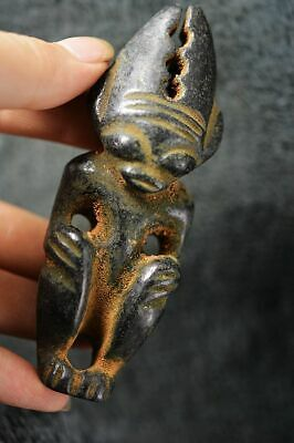 China Hongshan Culture Magnetic Jade Stone Carved Appollo Sun God Statue  T3