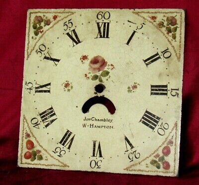 English Antique Hand Painted Grandfather Clock Dial. Flowers & Strawberry Design
