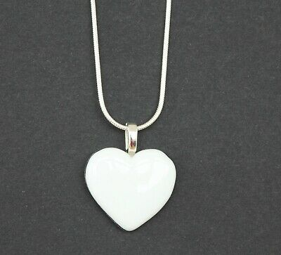 Handmade Fused Glass Art White Heart Pendant Necklace Jewellery Handmade Gifts