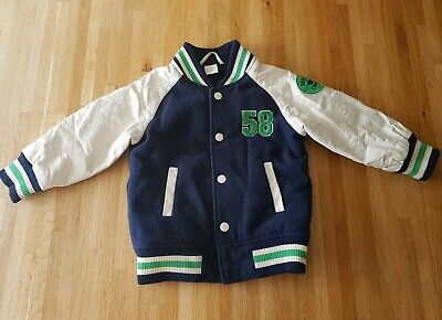 Toddler Letterman Jacket - H&M - Size 18 months-2 Years - Navy, Cream, Green