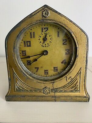 VINTAGE ANTIQUE RARE 1913 Schadow Dresser MANTLE ALARM CLOCK COIN SLOT BANK