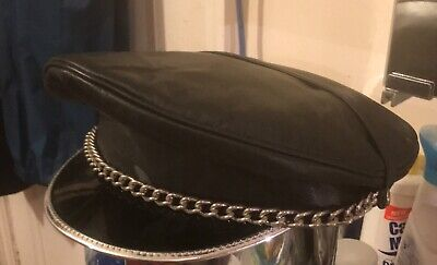 1a1d3eff008d3e Genuine Leather, Army Muir Biker Peaked Police Gay Military style Cap With  Chain
