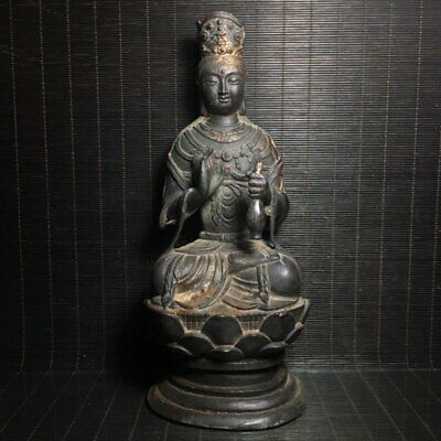 "9"" Chinese old antique bronze gilt gold vase guanyin Buddhism Buddha statue"